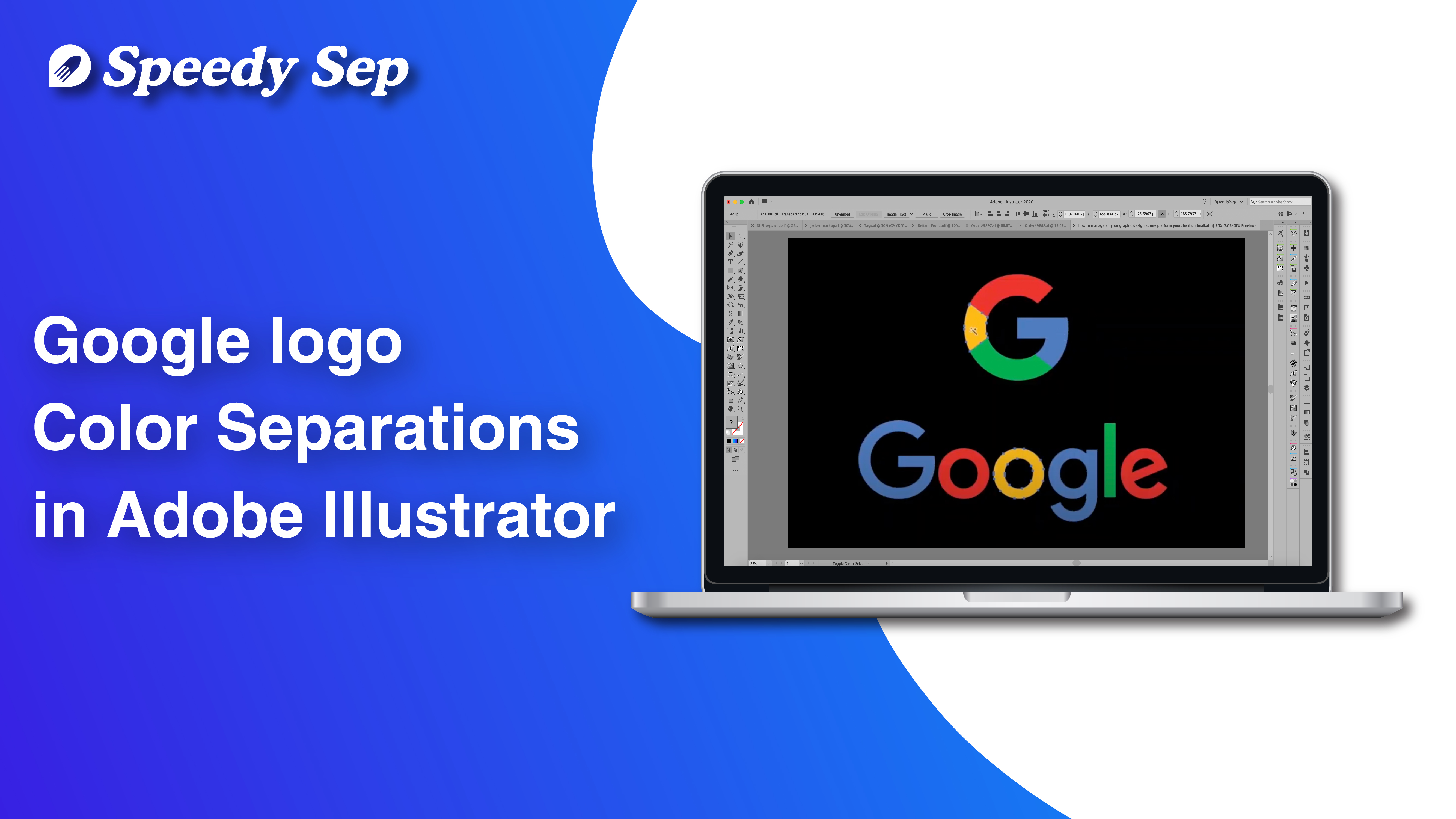 Google logo in Color Separations in Adobe Illustrator | Step by Step Tutorial by Speedysep.com